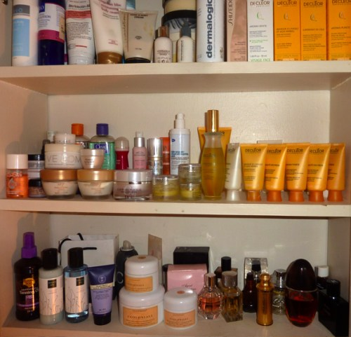 Your medicine cabinet mostly consists of skin care products.