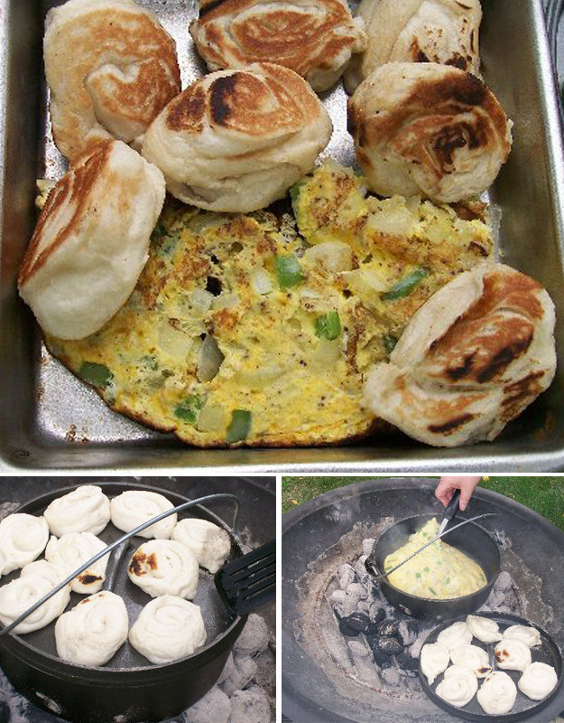 Make an egg scramble, put it in the dutch oven, then cover everything and cook the biscuits ON TOP!!! Recipe here.