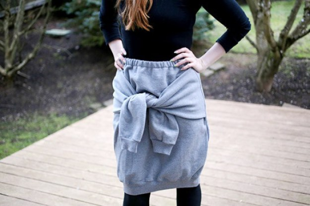 Turn a sweatshirt into a sweat-skirt.