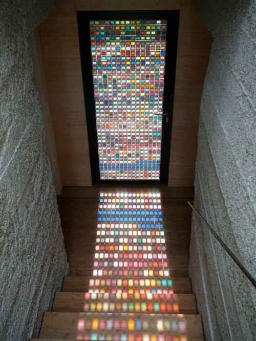 Fairytale Home Decor Rainbow Stained Glass Door Stairway