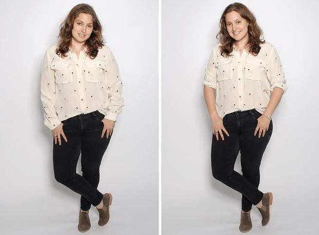 Flowy long-sleeved shirts sometimes dwarf smaller frames. Cuffed sleeves (and a quick tuck) can break things up and emphasize shape. More tips here.