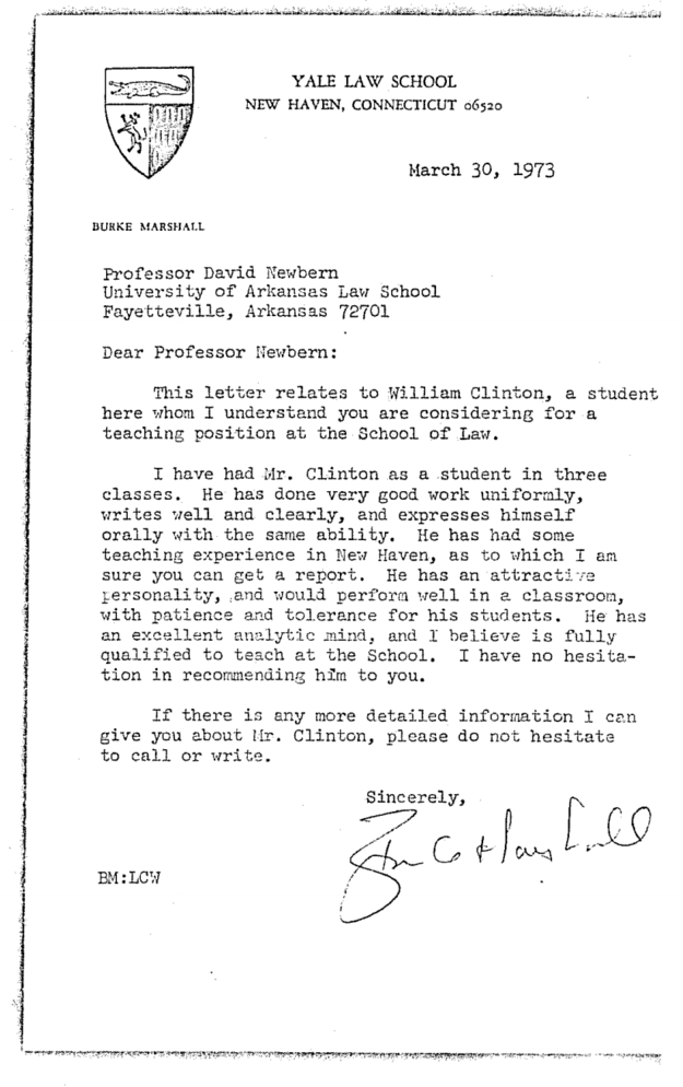 Here's Bill Clinton's Personnel File From His Time As An