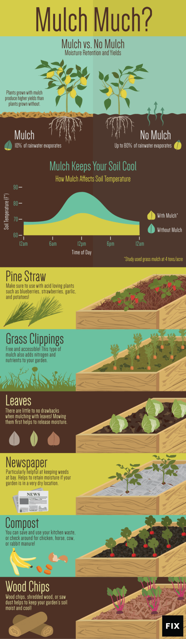 Leaves, grass clippings, newspaper: become a mulch master with this chart.
