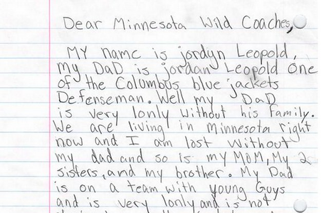 NHL Player's Daughter Writes Adorable Letter Asking Team