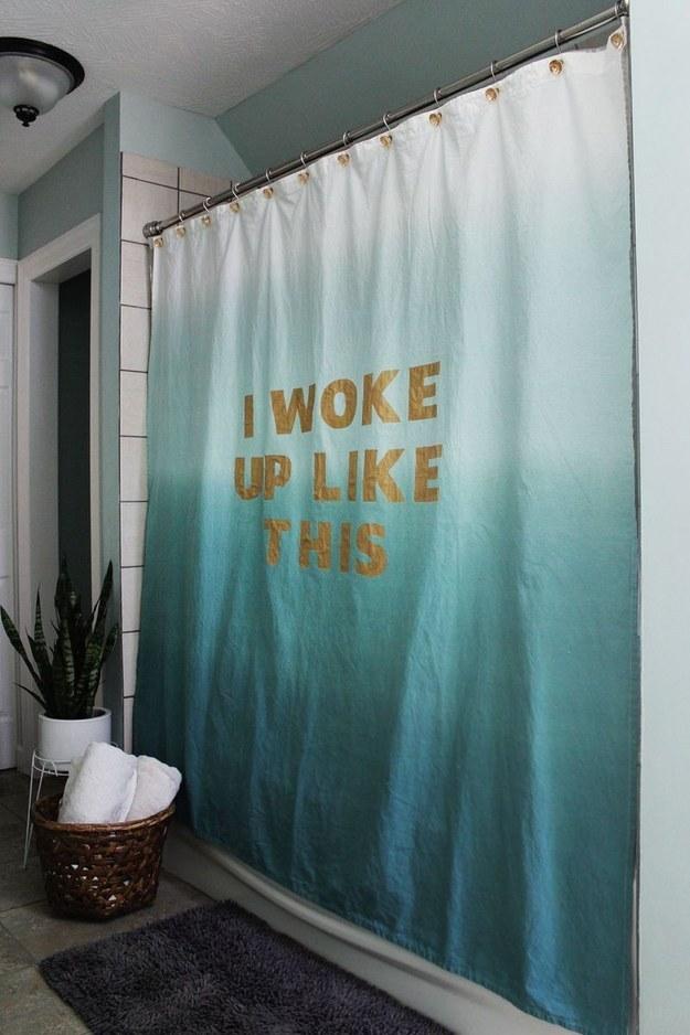 Belt your best Beyoncé impression behind a stenciled-lyric shower curtain.