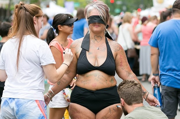 A Woman Stood In Public Blindfolded In A Bikini To Promote