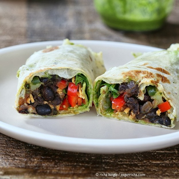 SMOKY BLACK BEAN WRAPS WITH PARSLEY CHIMICHURRI and SPINACH