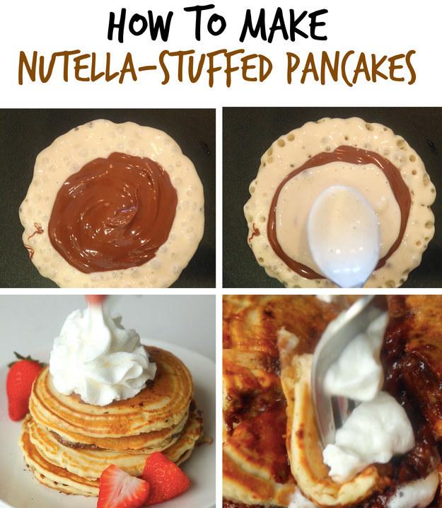 2. Nutella-Stuffed Pancakes