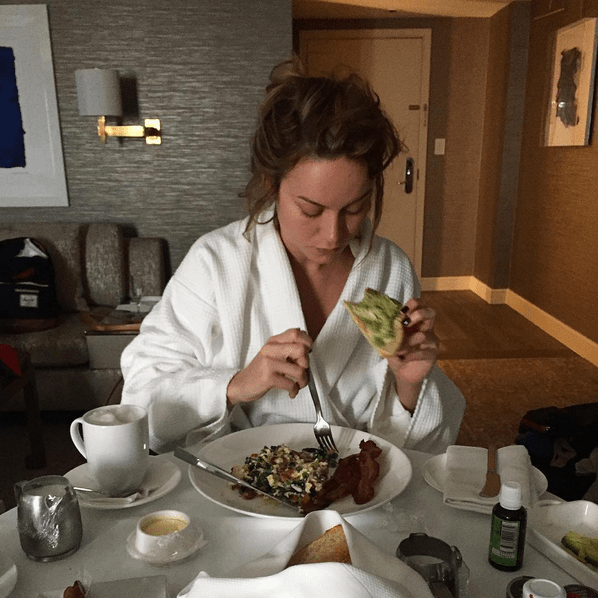 While Brie Larson got ready for the night with some avocado on toast.