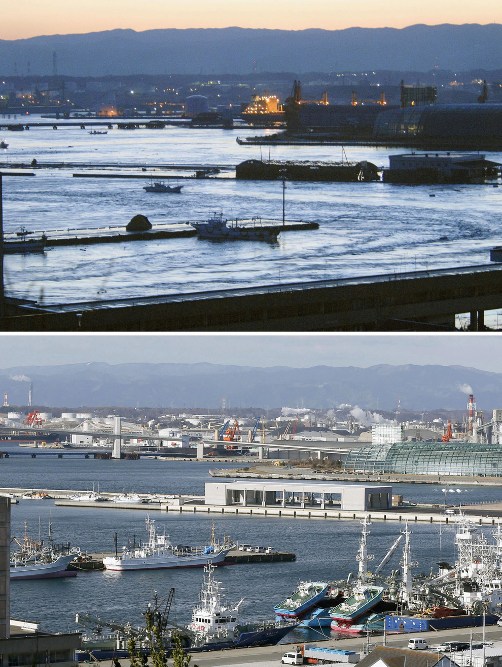Here's a general view of Onahama port in Fukushima prefecture: March 11, 2011, vs. February 28, 2015.