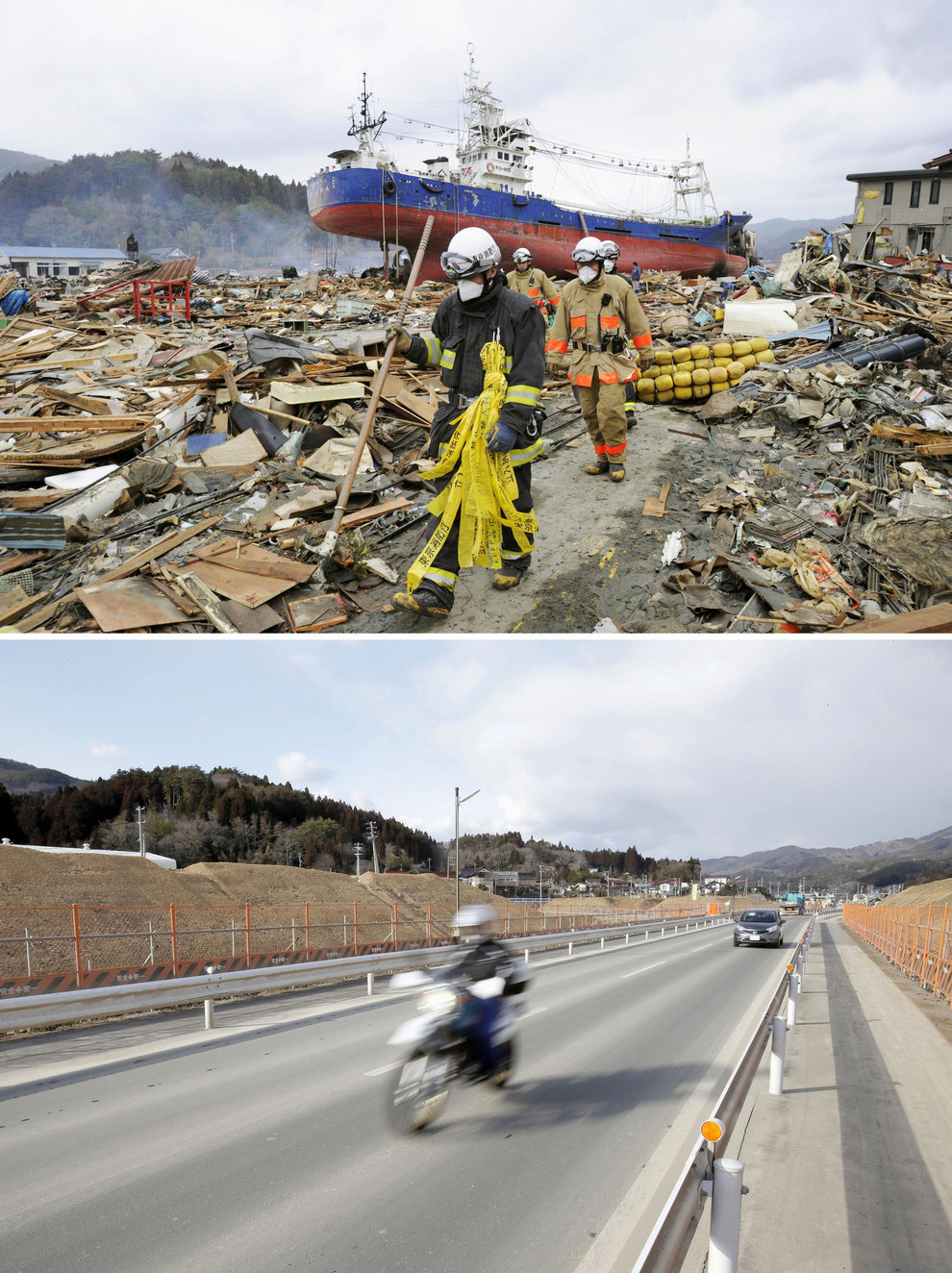 Here's the town of Kesennuma, also in Miyagi, days after the 2011 tsunami, followed by how it looked last February.