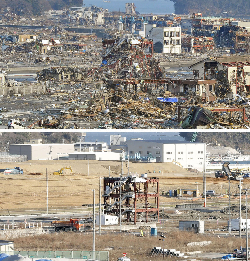 A leveled government office building in the Miyagi prefecture. Then and now.