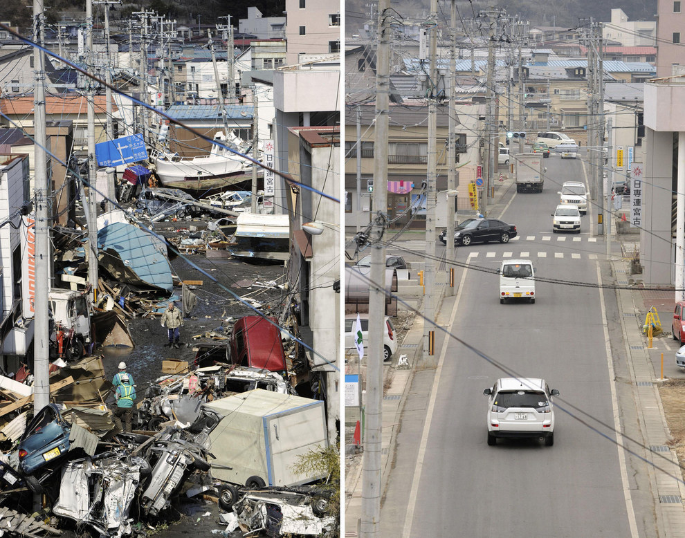 And here's the striking recovery of a town in Japan's Iwate prefecture.