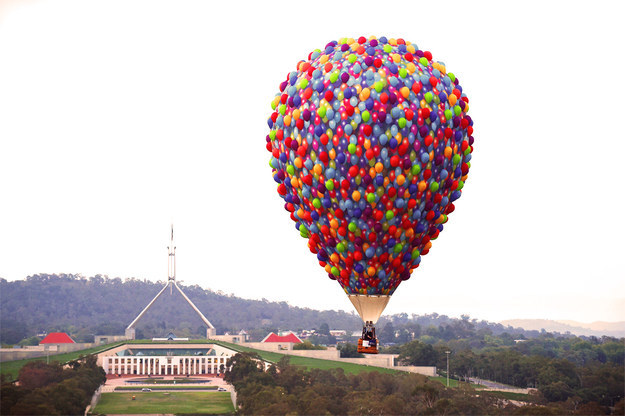 Disney fanatics, hold on tight. There's an actual life-size hot air balloon inspired by Up floating above Canberra right now.
