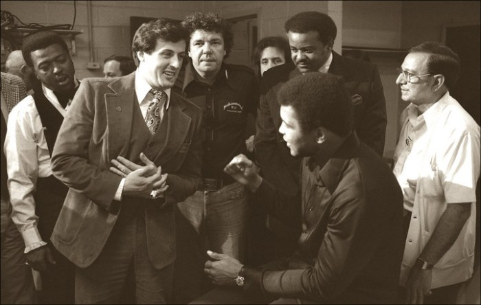 Sylvester Stallone, who was inspired to write Rocky after seeing the Muhammad Ali/Chuck Wepner fight in 1975, meets Ali in the locker room to wish him luck before the fight.