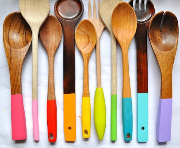 Upgrade your kitchen utensils by painting or dip-dying them.