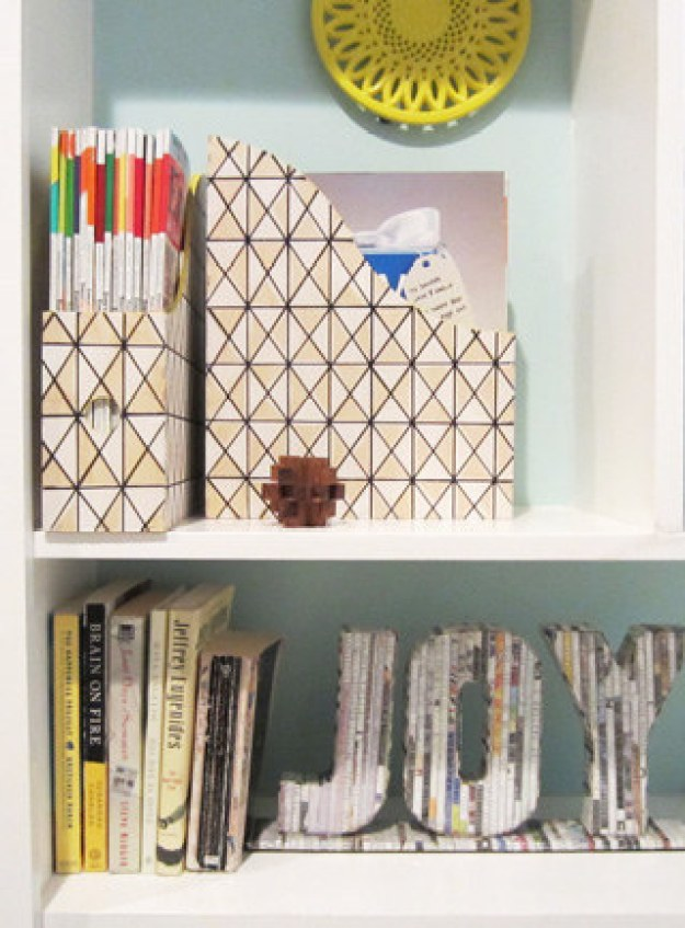 Upgrade solid magazine holders with a Sharpie and craft paint.