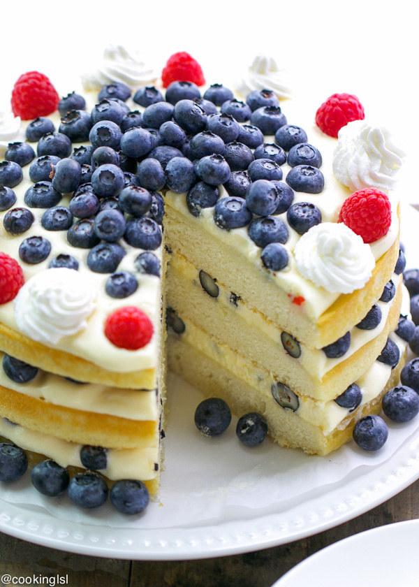 Blueberries & Bavarian Cream Cake