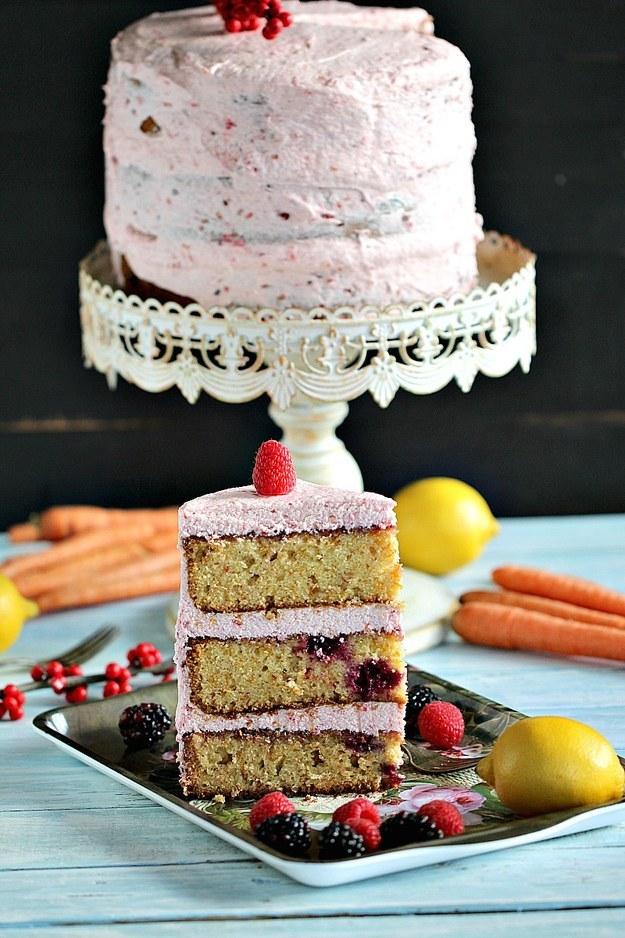 Hazelnut Berry Carrot Cake With Raspberry Buttercream