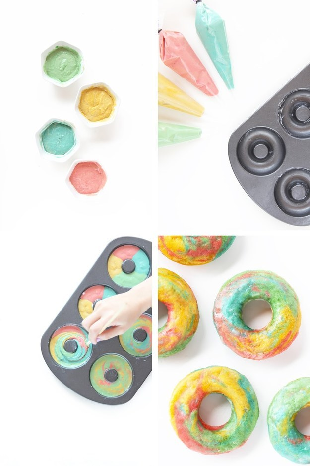 Rainbow Marbled Donuts