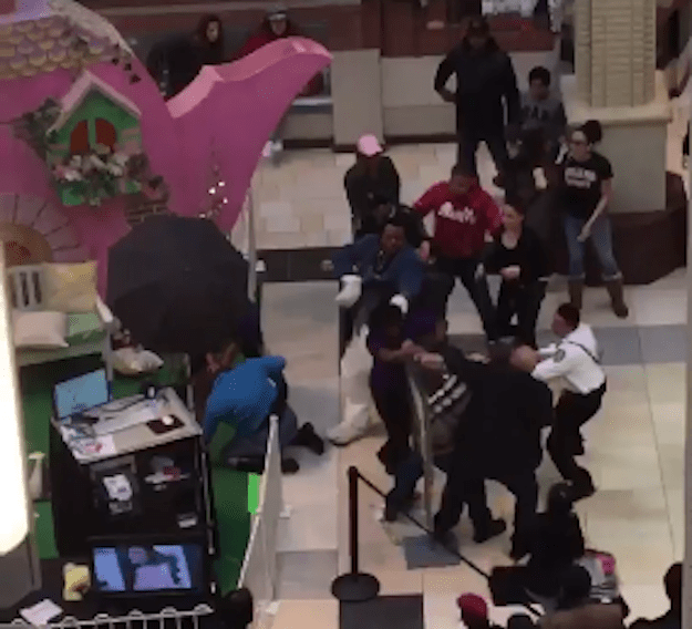 The fur started to fly at a New Jersey mall's Easter Bunny photo booth as security guards hopped into action to break up a fight between a man dressed as the Easter Bunny and a disgruntled shopper.