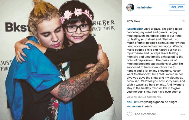 Justin Bieber has announced on Instagram that he is cancelling the meet and greets for his Purpose tour.
