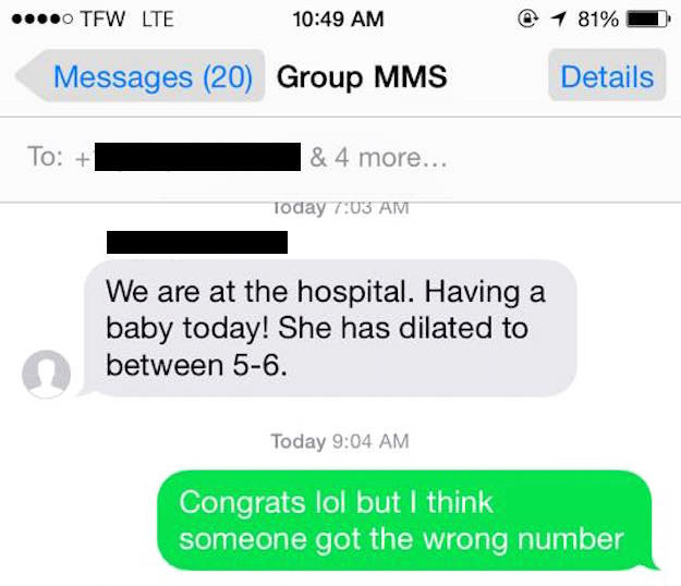 He then realized that he didn't recognize any of the numbers on the thread. So he sent a polite text telling the group they had the wrong number.