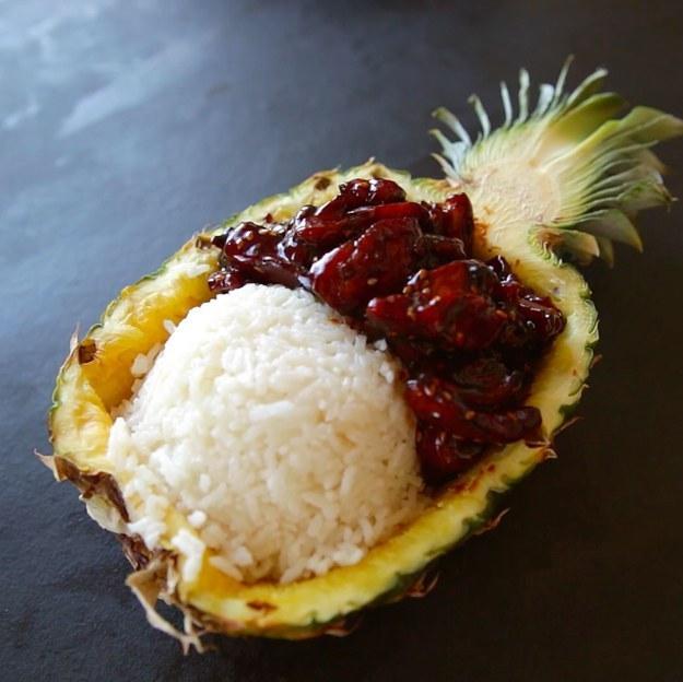 Make pineapple teriyaki chicken and serve inside an actual pineapple.