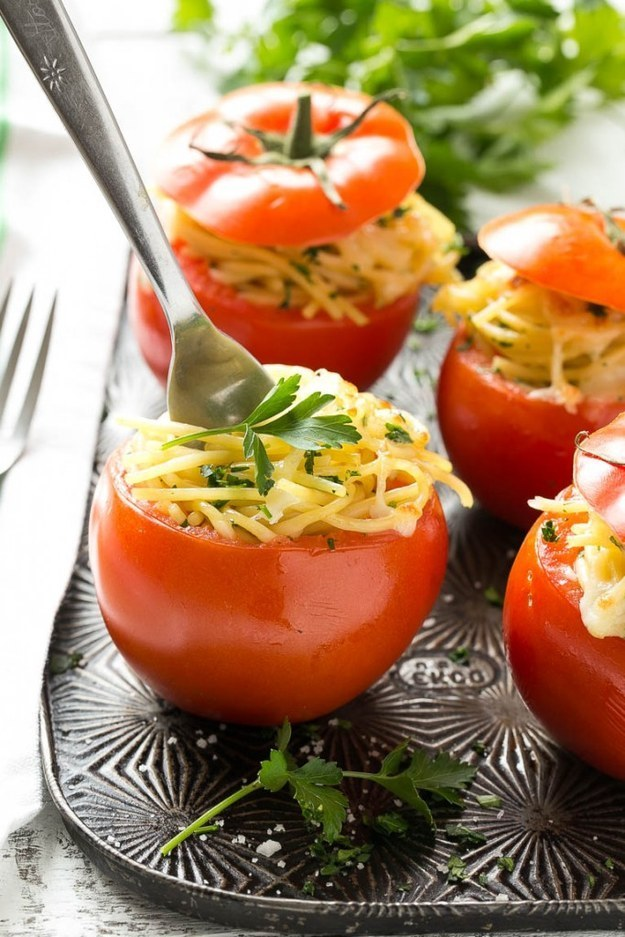 Bake perfectly cheesy spaghetti right in tomatoes.
