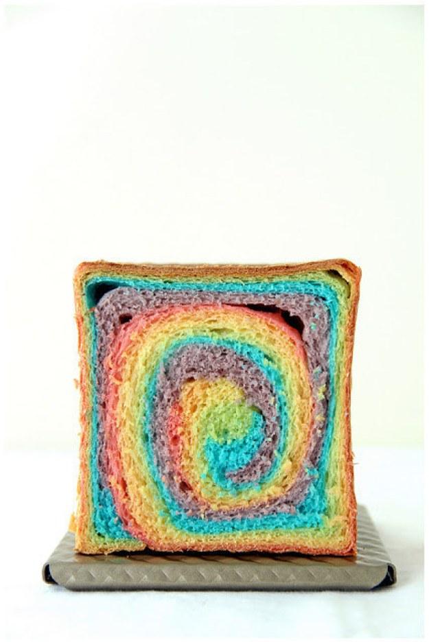 Rainbow Cube Bread Loaves