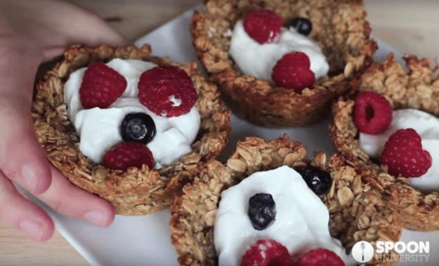 Use a muffin tin to make lil' banana granola bowls.
