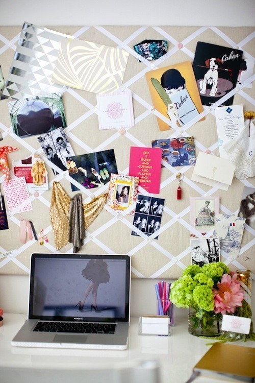 An oversized linen and ribbon board that can make your desk like an IRL Pinterest.