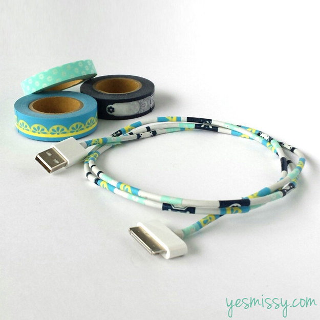 Cover your iPhone cord in pretty washi tape so you never mix it up with anyone else's cord again.