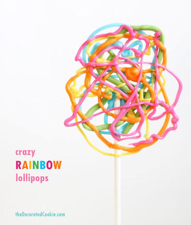 Crazy Rainbow Lollipops