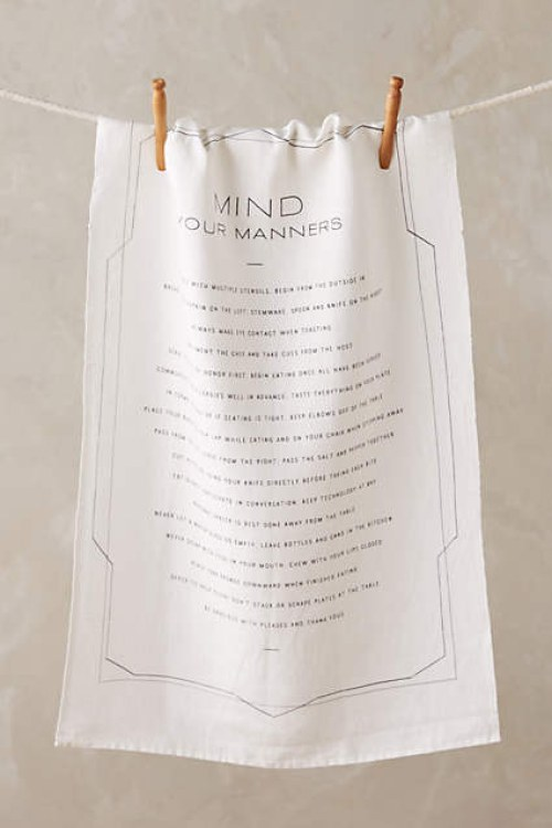 WHO ARE YOU TELLING TO MIND THEIR MANNERS? AREN'T YOU A GODDAMNED DISHTOWEL?