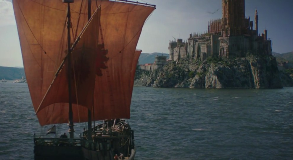 Away from winter's reaches (for now), we see Jaime arrive back in King's Landing with the body of his recently murdered daughter.