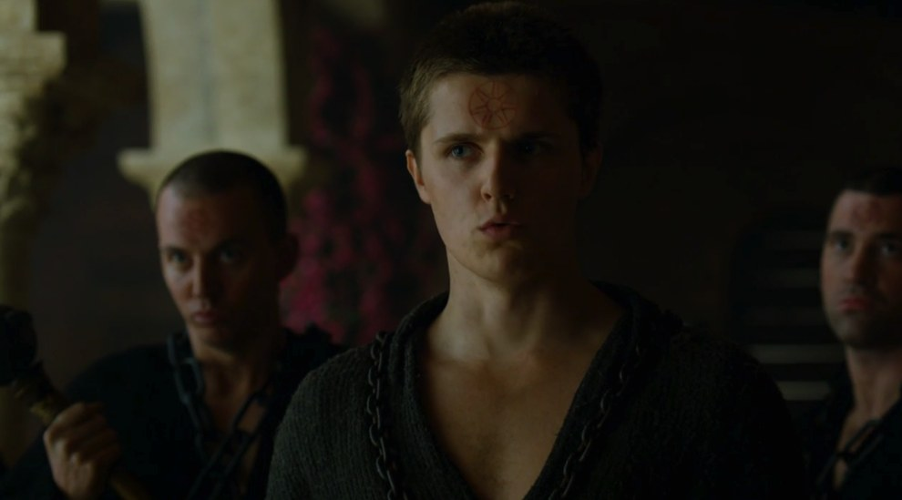 "Here's where shit starts to go down. Back in King's Landing Lancel Lannister tells Cersei: ""Order your man to step aside or there will be violence."""