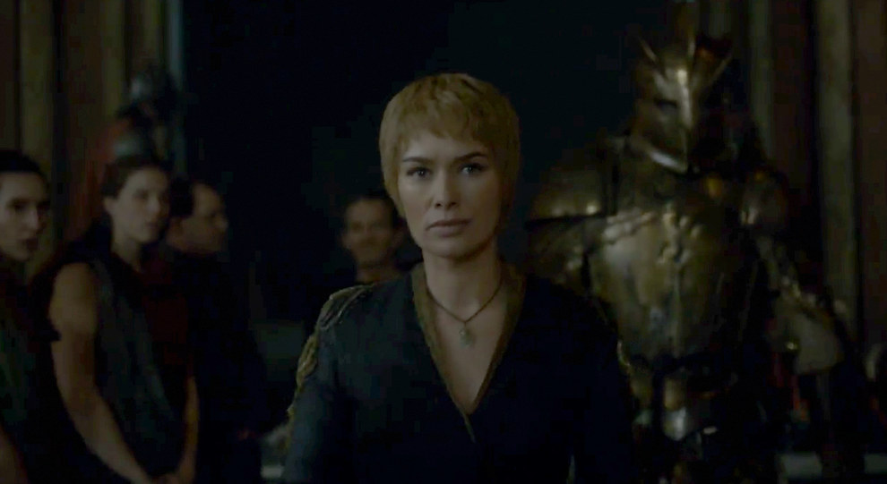 The trailer makes it look like Tommen and Cersei are squaring up to each other. Perhaps Cersei gets sick of her youngest doing nothing with his crown?