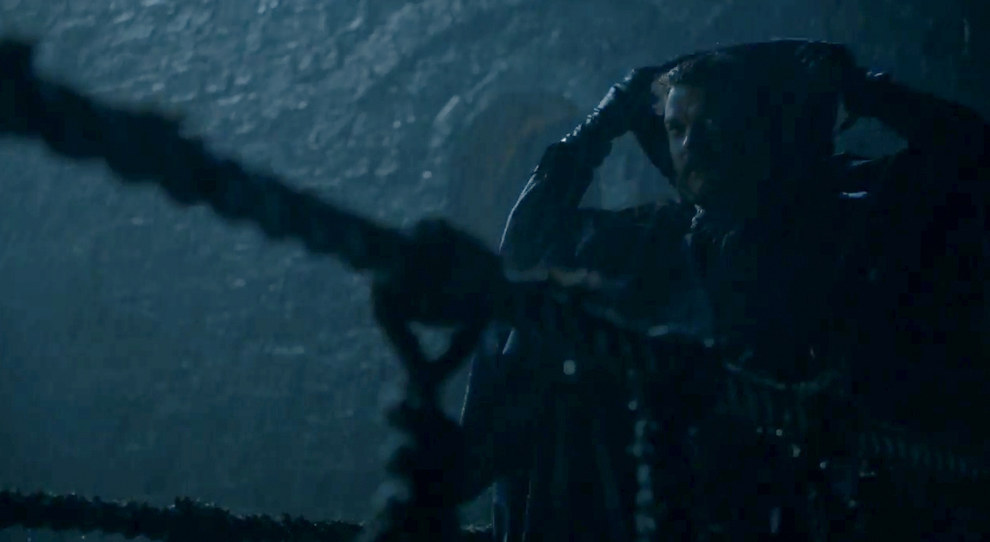 Sticking with the Greyjoys, we get another clip of Euron, who seems to be up to no good near a bridge.