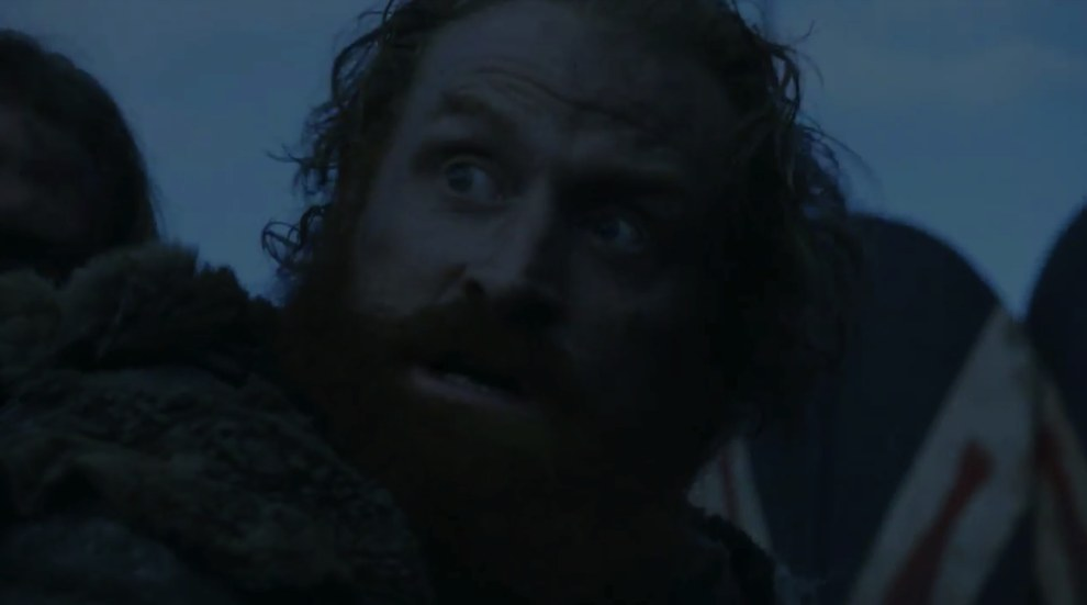 "Next we see Tormund stood in front of some flayed men shields, confirming the aforementioned ""wildings fighting the Boltons"" theory."