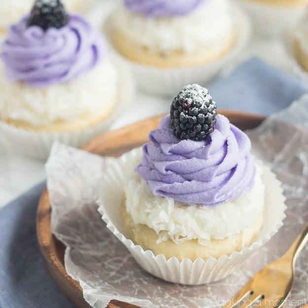 Blackberry Coconut Cupcakes