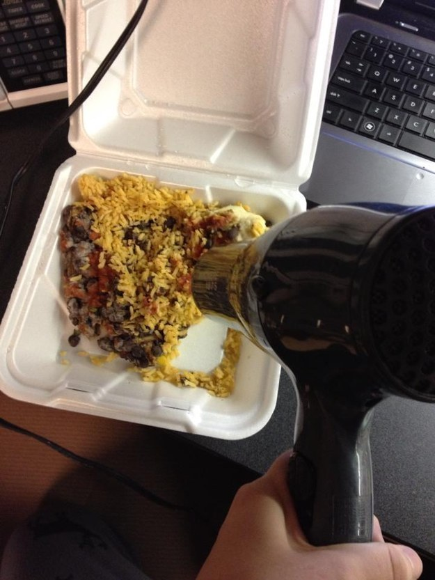 Isn't leaving your room to cook just the worst? Solve that problem by warming up last night's leftovers with a hairdryer!