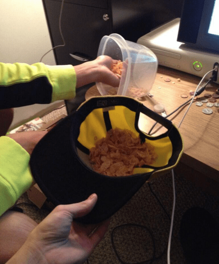 Sometimes there are no clean bowls, so you have no choice but to eat your cereal out of a hat.