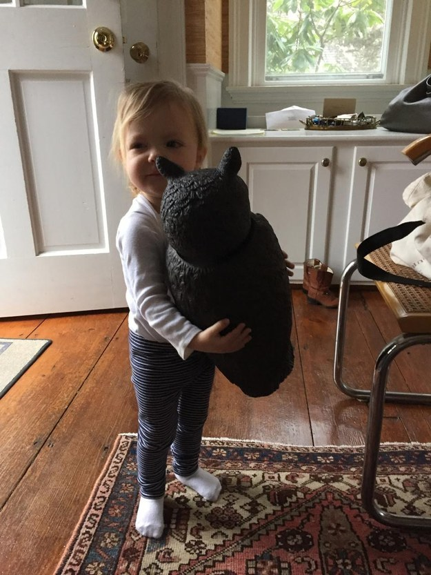 """""""It's almost the size of her, but she likes to pick it up and run around with it,"""" she said."""