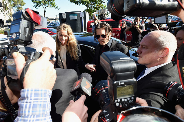 Johnny Depp and Amber Heard arrived at a Gold Coast court this morning, with Heard charged with breaking Australia's quarantine laws by bringing the couple's two dogs into the country last year.