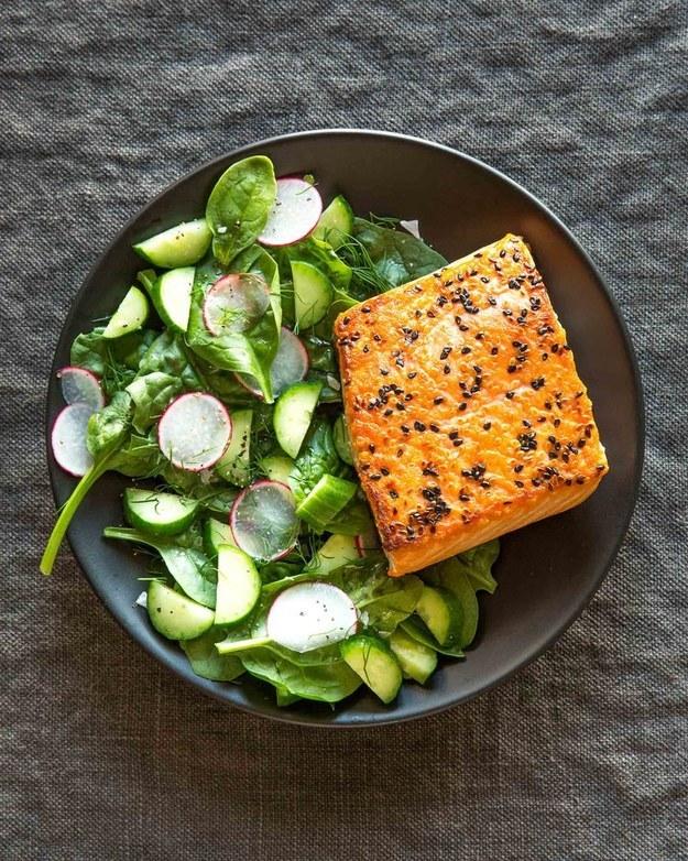 Sesame Salmon and Cucumber Salad