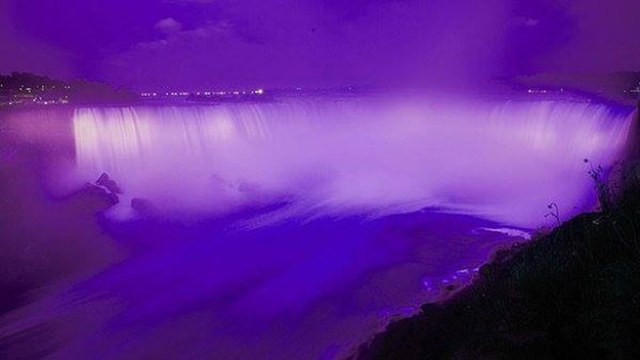 Niagara Falls is turning purple tonight, too, but weirdly enough it's not for Prince. It's for Queen Elizabeth's 90th birthday.