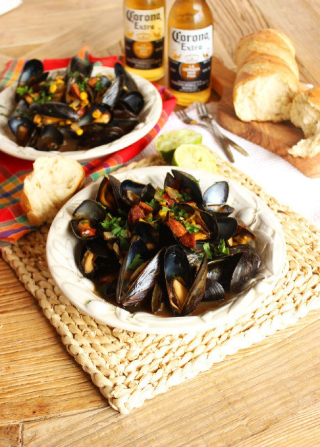 Corona Steamed Mussels with Corn and Chorizo