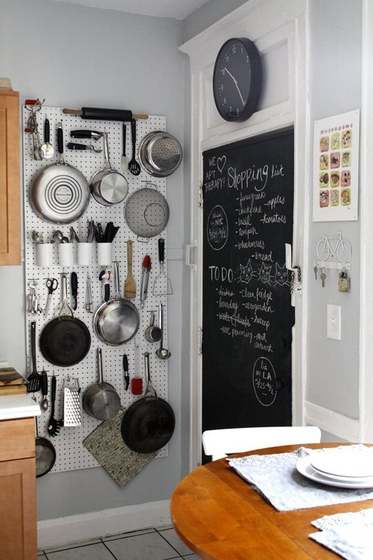 Mount A Pegboard On Blank Wall To Exponentially Expand Your Kitchen Storage