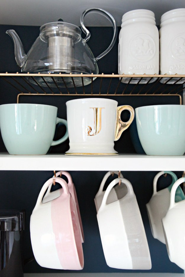 Double up your space wherever you store cups.